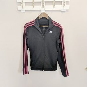 Adidas Black and Pink Three Stripe Track Jacket